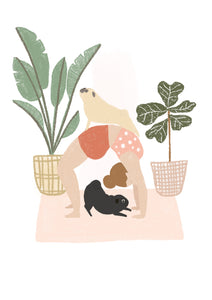 Yoga with pugs A4 print