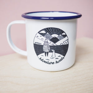 adventure awaits enamel mug