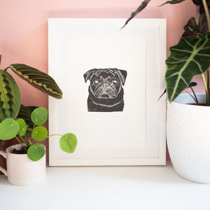 cute black pug lino print