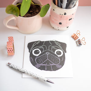 black pug lino print greetings card