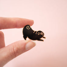 playful pug enamel pin