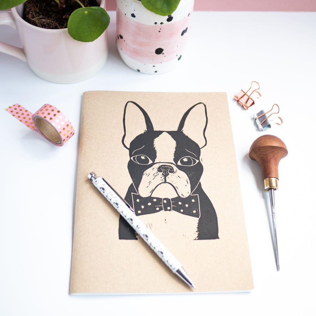 Boston terrier lino print sketchbook