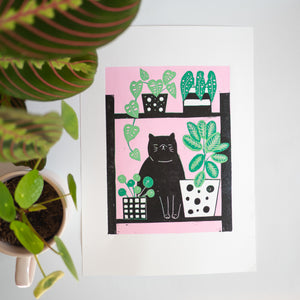 Black cat jungle kitty lino print