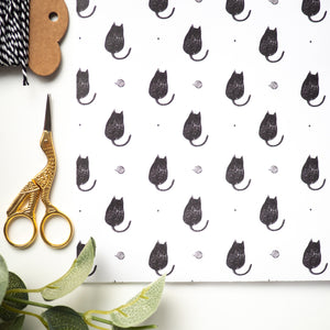 Black cat hand printed wrapping paper