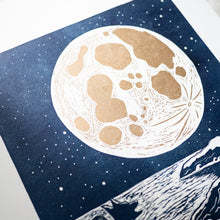 close up lino print moon