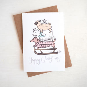 yappy christmas dog lino print card white