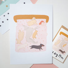 Dogs in bed print