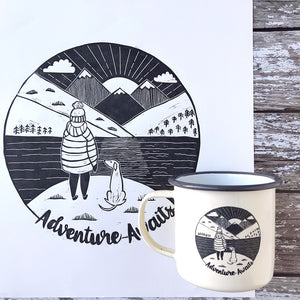 lino print laser etched enamel mug adventure awaits dog lover
