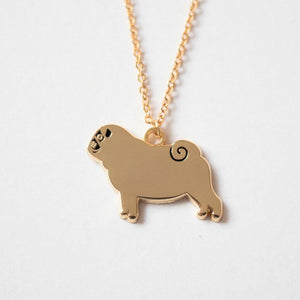 Gold enamel pug necklace