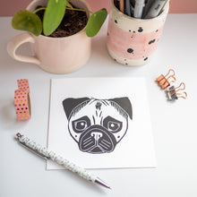 fawn pug lino print greetings card