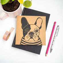 french bulldog lino print card