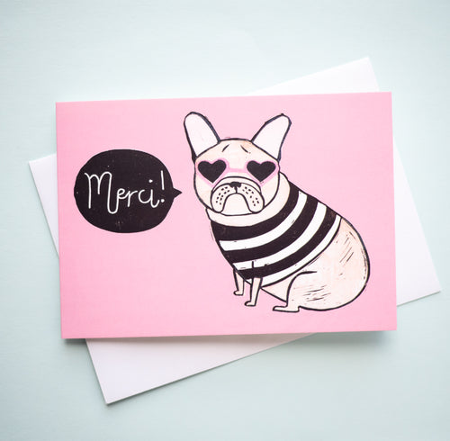 french bulldog merci french thank you card