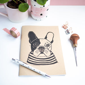 french bulldog lino print sketchbook
