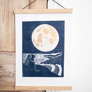 full moon lino print navy