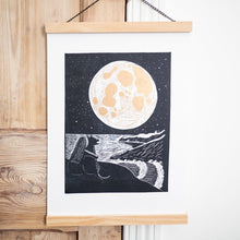 full moon lino print gold