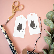 black cat hand printed gift tags