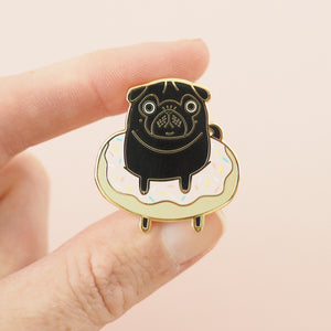 doughnut black pug pin
