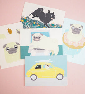 set of pug postcards