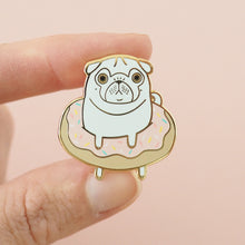 doughnut white pug pin