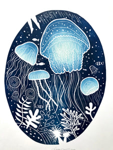 Jellyfish party Original Lino Print