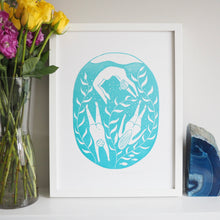 wild swimming lino print