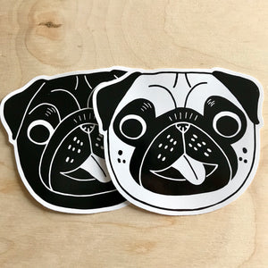 Happy Pug Vinyl Stickers