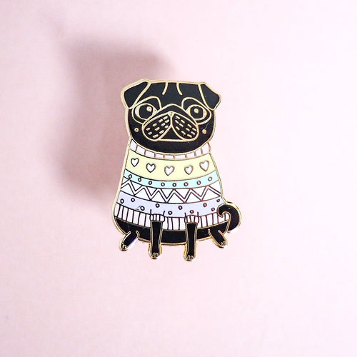 Snug as a Pug Enamel Pin - Black Pug