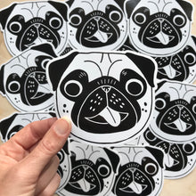 happy pug vinyl sticker fawn