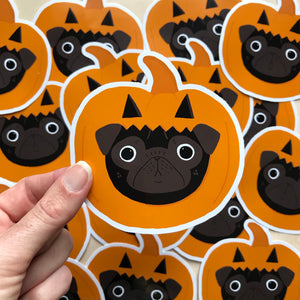 black pug halloween stickers