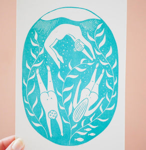 Wild Swimming Greetings Card