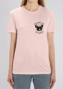 only here for the snacks pink pug t-shirt pocket print