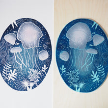 jellyfish lino print with block