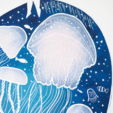 jellyfish lino print close up