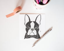 Boston terrier lino print greetings card