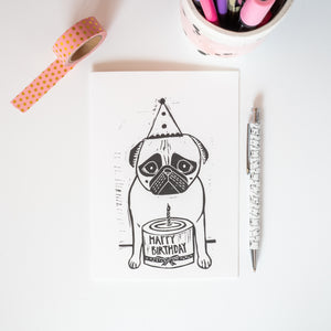 lino print pug birthday card happy birthday