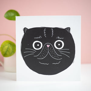 lucky black cat face lino print greetings card