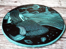 mermaid nautical lino print lino cut carving