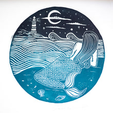 mermaid nautical lino print