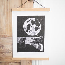 full moon lino print black