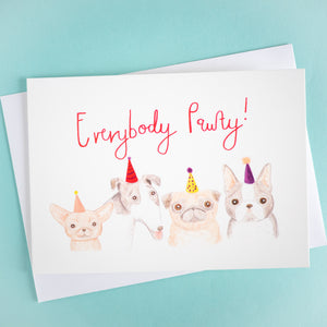 everybody pawty gouache dog birthday card