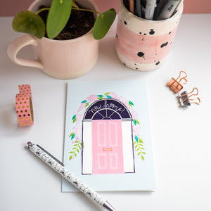 lino print pink front door new home greetings card