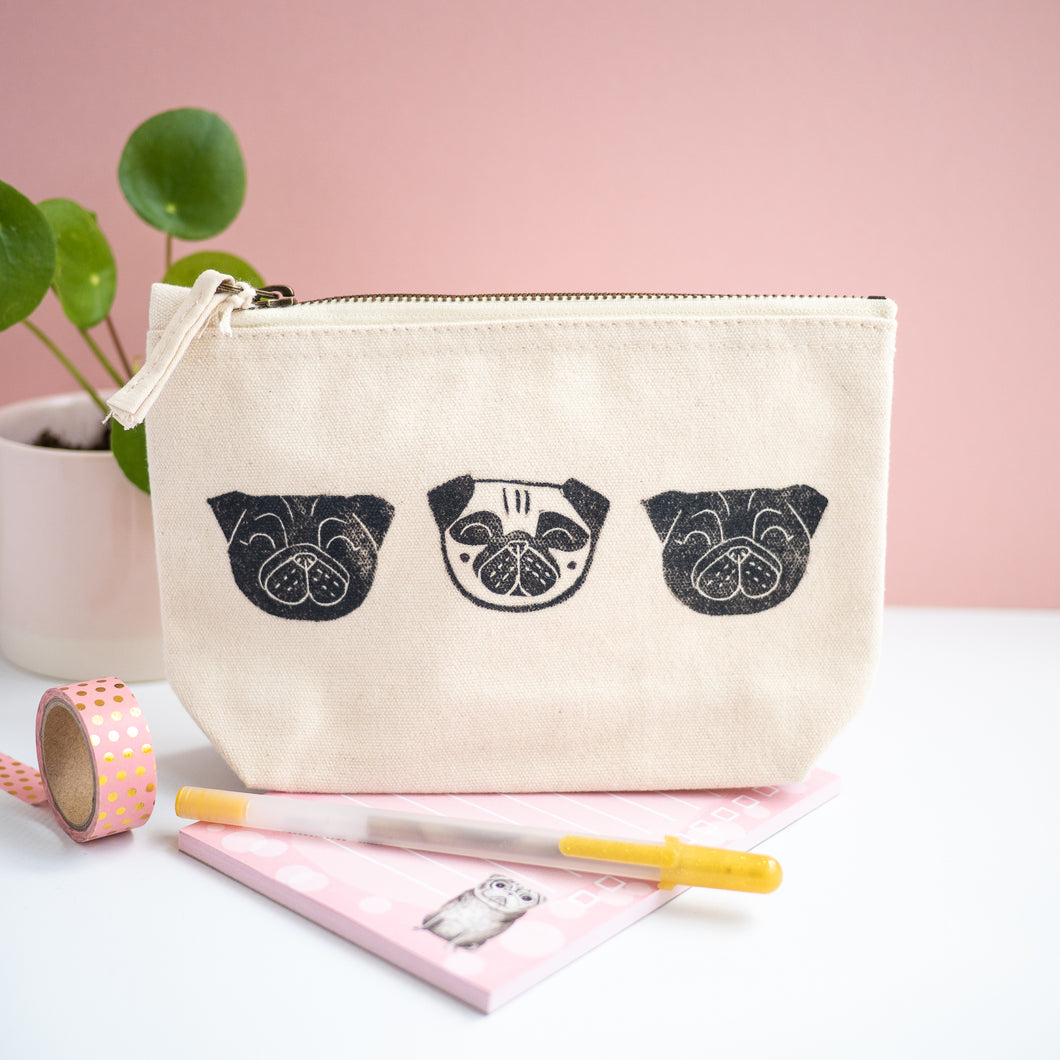 hand printed lino print pug pouch pencil case