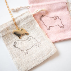 Pug necklace with hand printed pouch