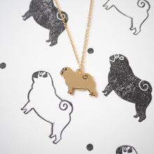 Pug necklace based on lino print