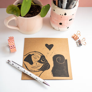 love at first sniff pug valentine's lino print card
