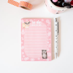 pink pug print to do list