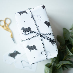 pug print wrapping paper