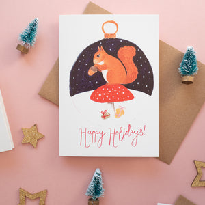 red squirrel christmas card