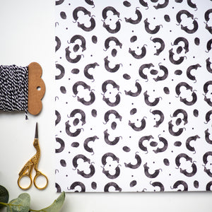 sausage dog lino print wrapping paper