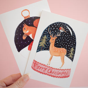 set of two woodland christmas cards